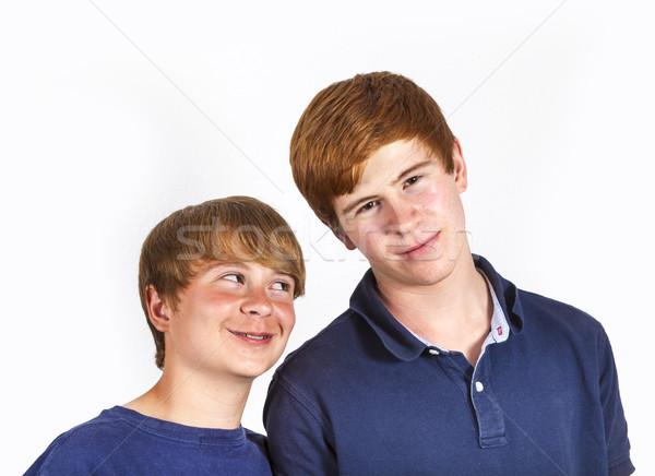 Cute knap broers samen portret Stockfoto © meinzahn