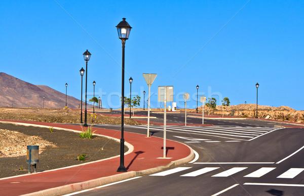 Nieuwe wegen ontwikkeling hemel Blauw lamp Stockfoto © meinzahn