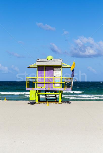 Fából készült élet őr art deco stílus Miami Stock fotó © meinzahn