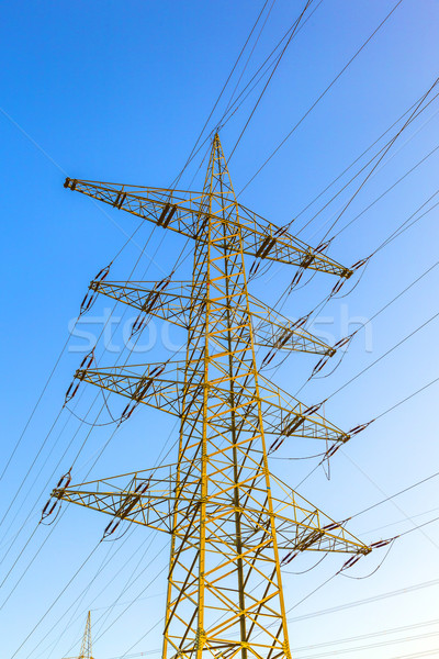 hight voltage tower in rural landscape with blue sky Stock photo © meinzahn