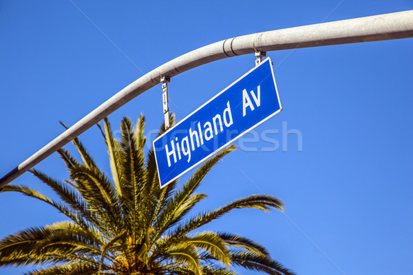 street sign Highland Av in Hollywood Stock photo © meinzahn