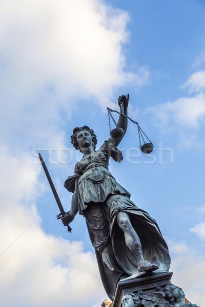 Justitia, a monument in Frankfurt, Germany Stock photo © meinzahn