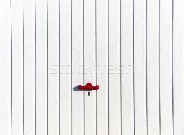 Porta estacionamento garagem vermelho manusear trancado Foto stock © meinzahn