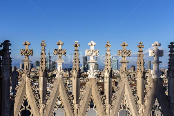 Pormenor milan blue sky edifício edifícios linha do horizonte Foto stock © meinzahn