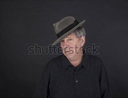 肖像 クール 見える ハンサムな男 帽子 黒 ストックフォト © meinzahn