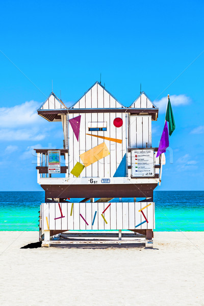 beautiful south Beach in Miami with famous lifeguard towers in  Stock photo © meinzahn