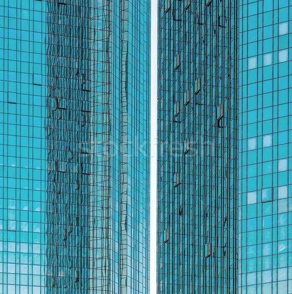 facade of skyscraper with sun reflections Stock photo © meinzahn
