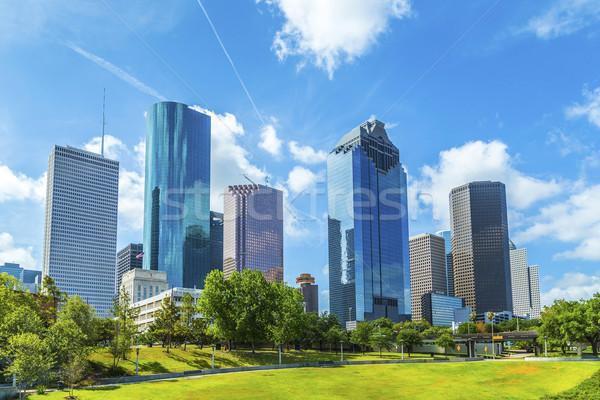 Sziluett Houston Texas nappal kék ég város Stock fotó © meinzahn