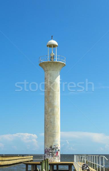 Deniz feneri Mississipi ABD gökyüzü mavi seyahat Stok fotoğraf © meinzahn