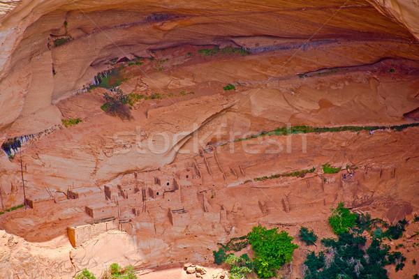 Arizona romok kanyon fák épületek közösség Stock fotó © meinzahn