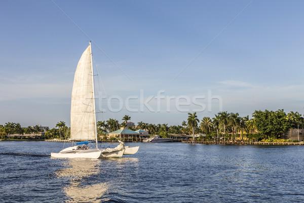 セーリング ボート 運河 フォートローダーデール 遅い 午後 ストックフォト © meinzahn