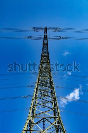 высокое напряжение электроэнергии Blue Sky облаке сеть промышленности Сток-фото © meinzahn