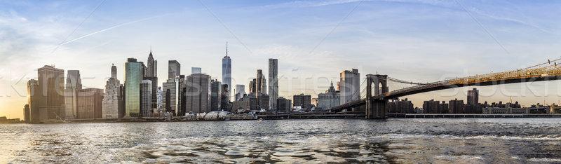 Manhattan Downtown urban view with Brooklyn bridge  Stock photo © meinzahn