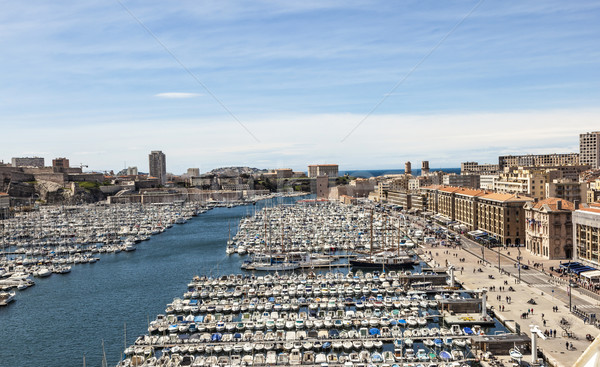 White yachts in the Old Vieux Port in the city center of Marseil Stock photo © meinzahn