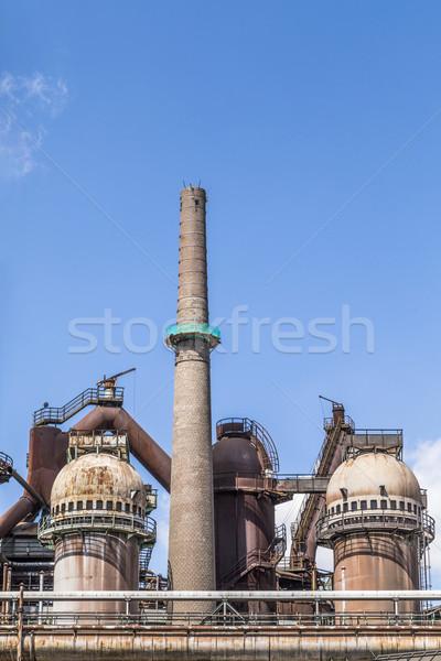 Ijzergieterij oude plant metaal Blauw industriële Stockfoto © meinzahn