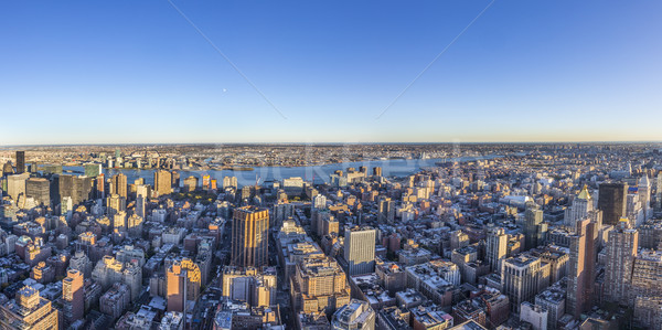 spectacular skyline view of New York in sunset light Stock photo © meinzahn
