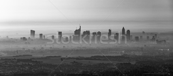 Франкфурт основной утра тумана Skyline Сток-фото © meinzahn