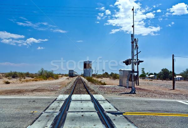 railroad crossing at route  95 near the village Vidal  Stock photo © meinzahn