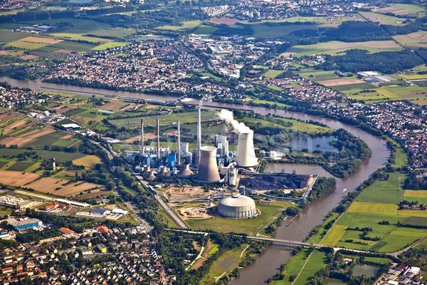 Elektrownia rzeki główny budynku krajobraz dziedzinie Zdjęcia stock © meinzahn
