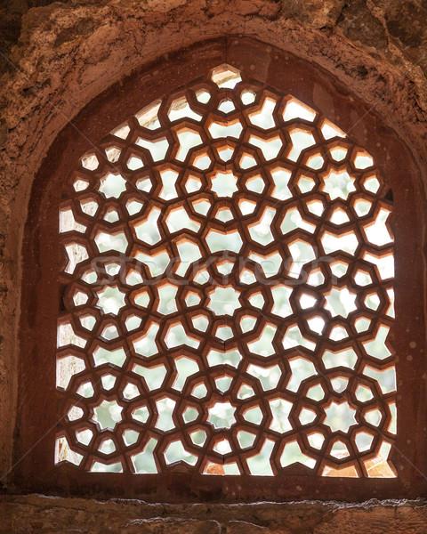 美しい 砂岩 ウィンドウ モスク 墓 デリー ストックフォト © meinzahn