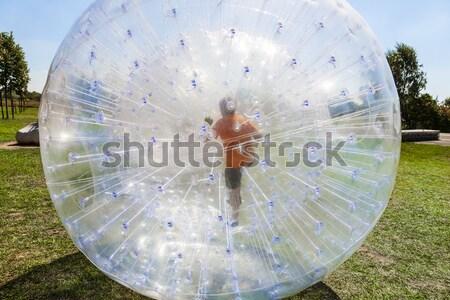 Gyerekek jókedv labda fű boldog nyár Stock fotó © meinzahn