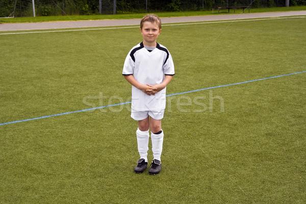 Foto stock: Orgulloso · jugador · jóvenes · jóvenes · fútbol · equipo
