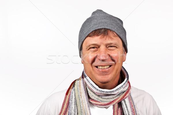 Glimlachend man geïsoleerd witte gezicht model Stockfoto © meinzahn
