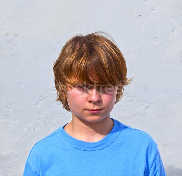 Retrato cute infeliz luz del sol blanco Foto stock © meinzahn
