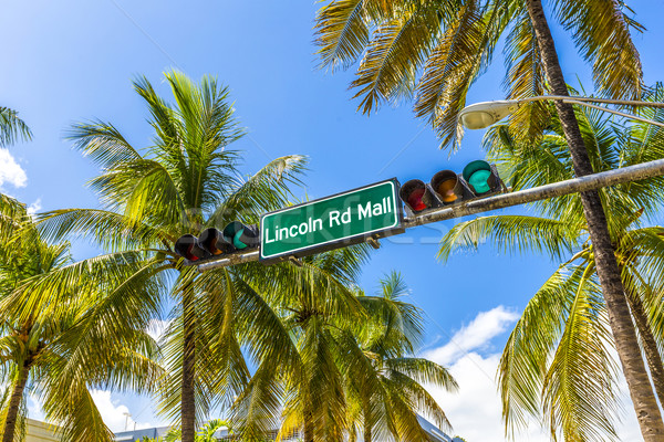 street sign Lincoln Road Mall in Miami Beach, the famous central Stock photo © meinzahn