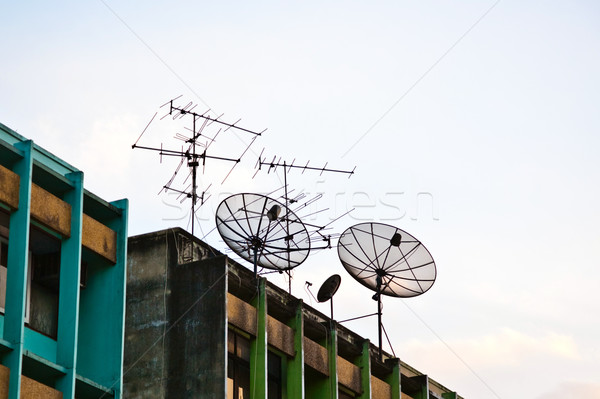 antenna and satellite on a roof in bangkok Stock photo © meinzahn