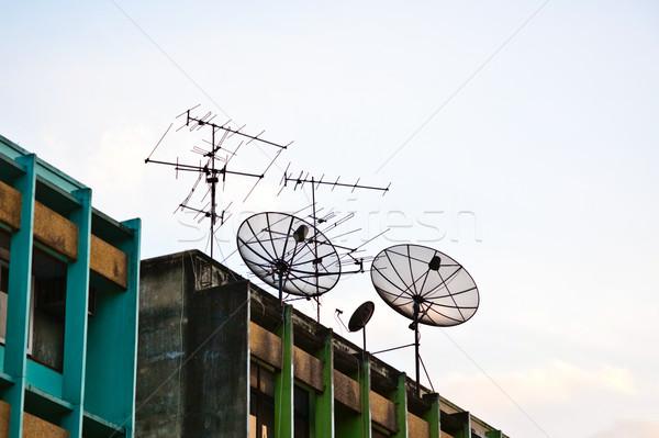 Antenne satelliet dak Bangkok Stockfoto © meinzahn