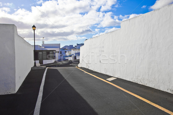 white wall withpart of street gives a harmonic pattern and medir Stock photo © meinzahn