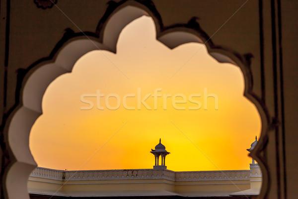 Zonsondergang top klein tempel wolken Stockfoto © meinzahn