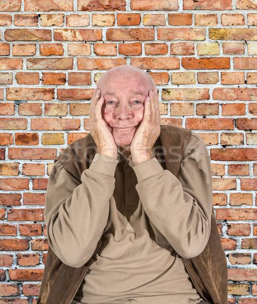 Portré idős férfi bánat tart fej Stock fotó © meinzahn