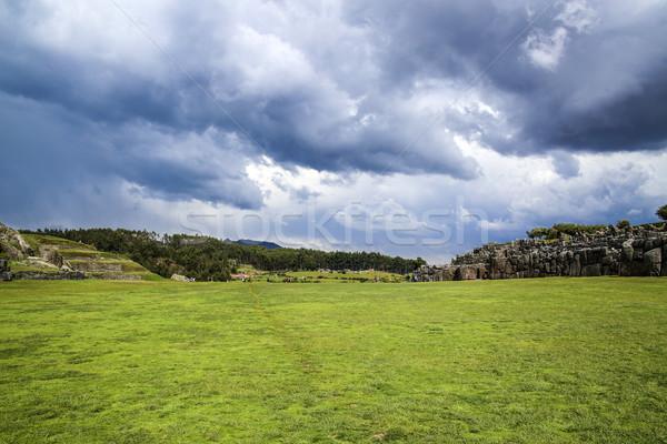 Muren oude inca stad berg Stockfoto © meinzahn