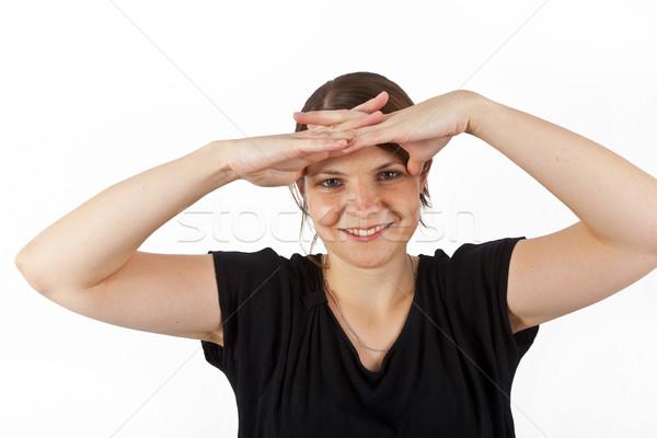 Boldog nő mosolyog néz kezek nap elleni védelem nő Stock fotó © meinzahn