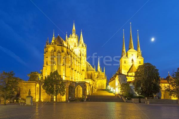 Katedrális este égbolt fény ablak hegy Stock fotó © meinzahn