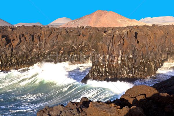海岸線 巨大な 波 ビーチ 空 風景 ストックフォト © meinzahn