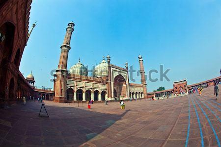 Mecset öreg Delhi India híres égbolt Stock fotó © meinzahn