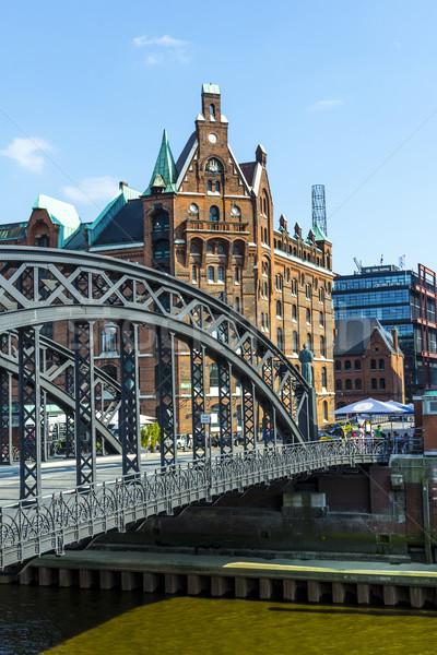 Ponte hamburgo escritório edifício cidade azul Foto stock © meinzahn