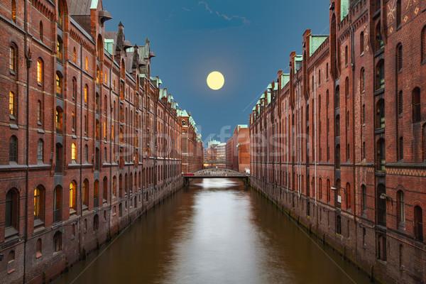 Notte amburgo storico ufficio casa tramonto Foto d'archivio © meinzahn