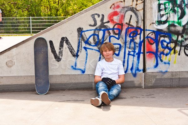 boy resting with skate board at the skate park Stock photo © meinzahn