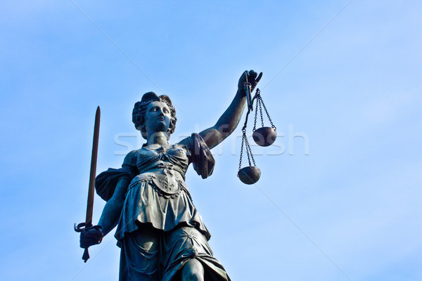 Statue of Lady Justice in front of the Romer in Frankfurt - Germ Stock photo © meinzahn