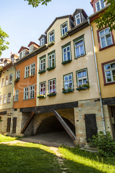 Stockfoto: Huizen · brug · Duitsland · twee · smal