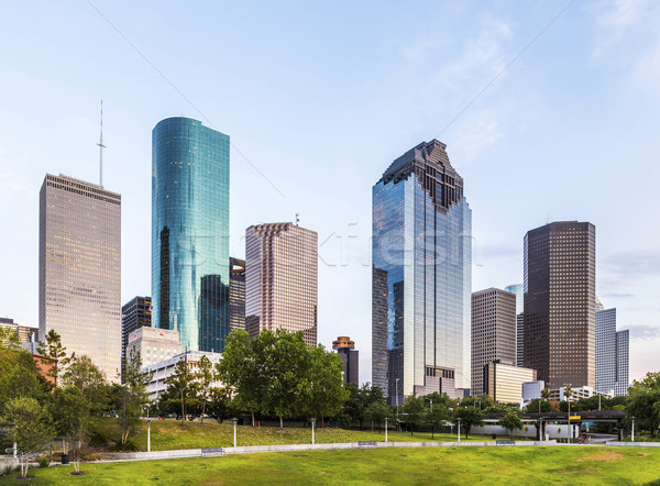 Sziluett Houston este fényes fények iroda Stock fotó © meinzahn
