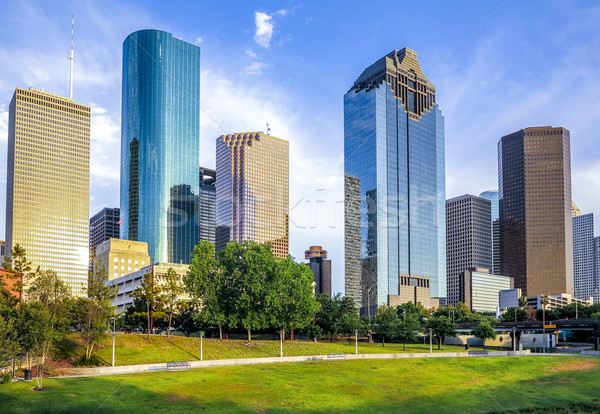 Horizonte Houston puesta de sol brillante oficina ciudad Foto stock © meinzahn