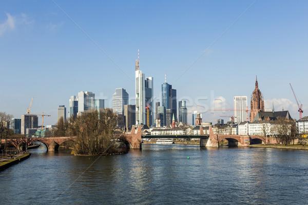 Nyár kilátás pénzügyi negyed Frankfurt Németország üzlet Stock fotó © meinzahn