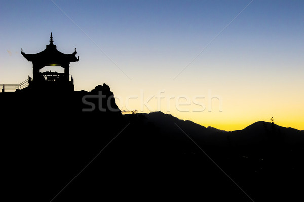 silhouette of buddhistic temple in the himalaya mountains Stock photo © meinzahn