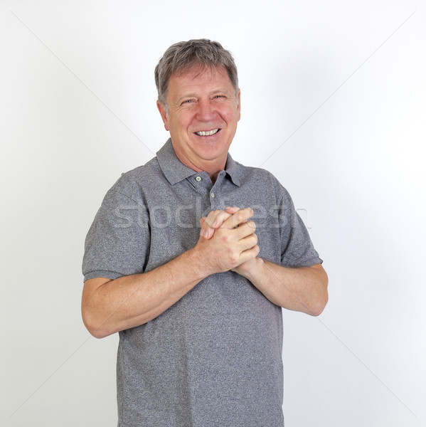handsome Middle aged  man on white background  Stock photo © meinzahn