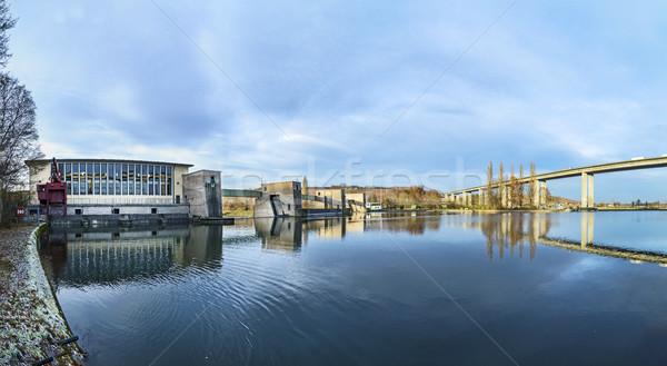 view to highway bridge over river Main in marktbreit Stock photo © meinzahn